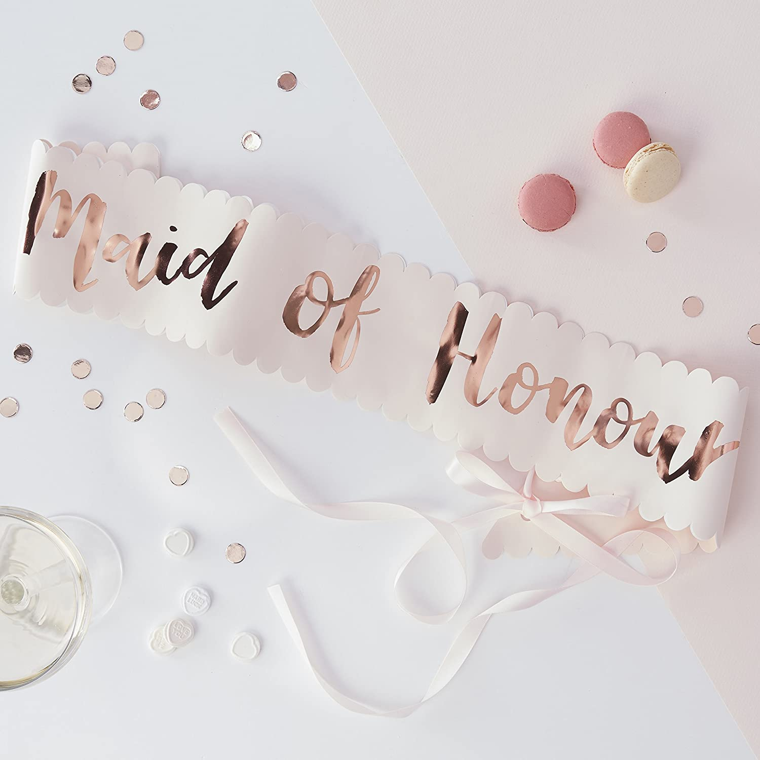 Team Bride Pink and Rose Gold Mother Of The Bride and Groom Two Pack Sashes