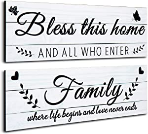 Jetec 2 Pieces Family Rustic Wooden Signs Bless This Home Wooden Wall Art Signs Decoration Farmhouse Family Entryway Sign for Bedroom Living Room Office Home Wall Decor, 13.8 x 4.7 inch