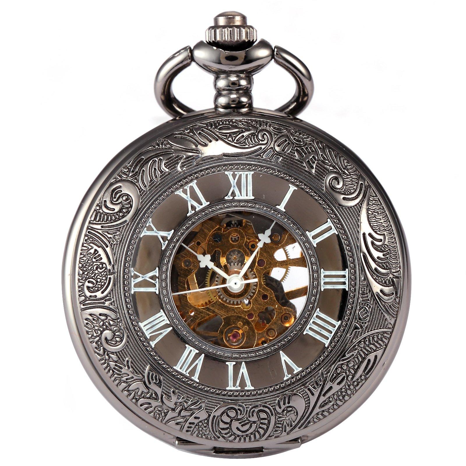 AMPM24 Vintage Hollow Skeleton Case Mechanical Hand Wind Pocket Watch WPK015