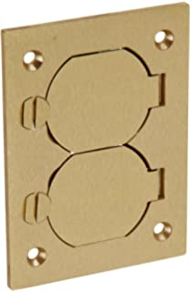 High Quality Hubbell Wiring Systems S3825 Brass Round Floor Box Rectangle Duplex Flap  Cover, 4 5
