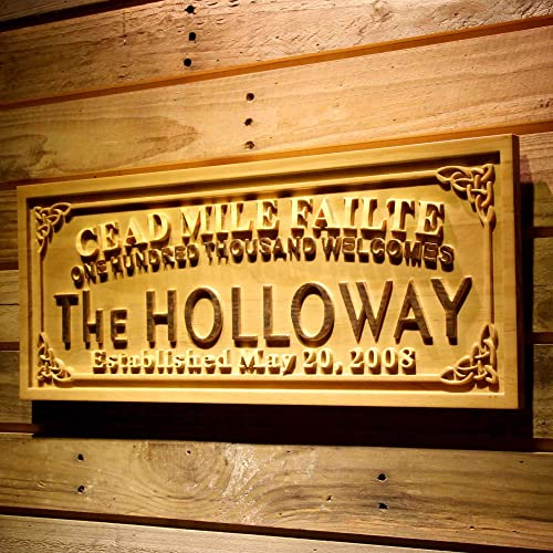 ADVPRO wpa0341 Cead Mile Failte Family Name Personalized Established Date One Hundred Thousand Welcomes 3D Wood Engraved Wooden Sign – Standard 23 x 9.25