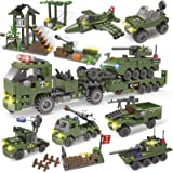 City Police, Army Marine Corps Building Blocks Toys, Military Base Building Kit, Heavy Transport Truck with Armored…