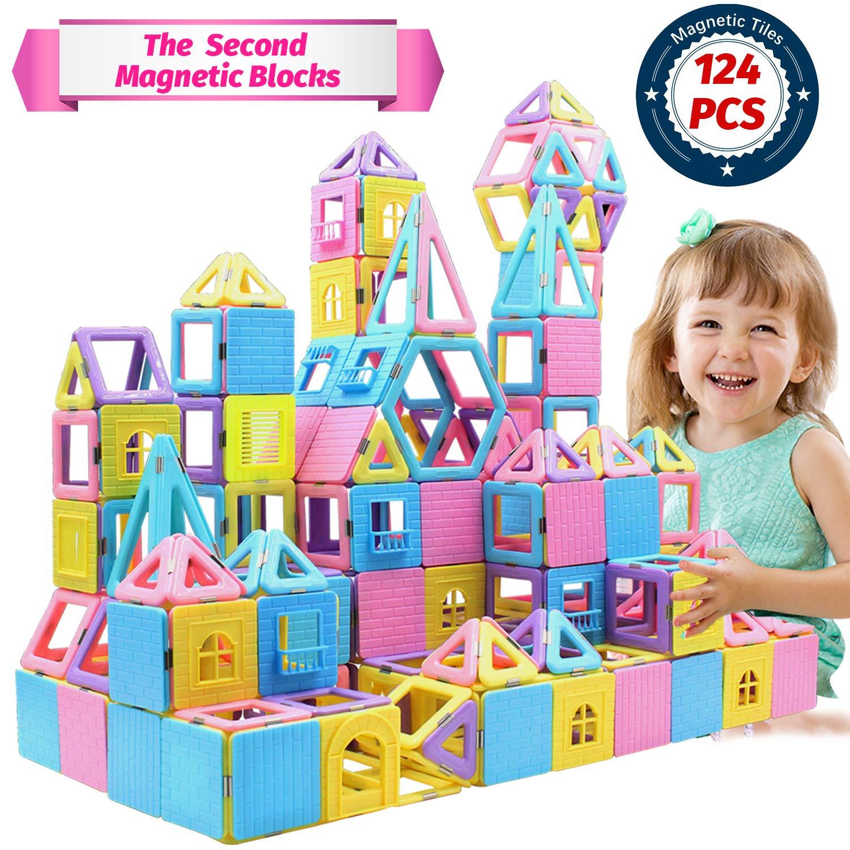 HOMOFY 124 PCS Castle Magnetic Blocks - Learning & Development Magnetic Tiles Building Blocks Kids Toys for 3 4 5 6 7 Years Old Boys Girls Gifts(3D Macaron Colors)