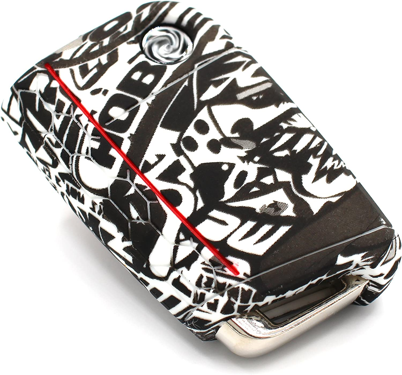 Llave Móvil VB para 3 botones llave de coche silicona Cover – Finest de Folia Carcasa Funda para llaves .Stickerbomb Schwarz Weiß: Amazon.es: Electrónica