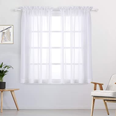 WONTEX Faux Linen White Sheer Curtains - Rod Pocket Semi Sheer Voile Curtains for Living Room and Bedroom, Set of 2 Curtain Panels, 55 x 63 inch Each Panel