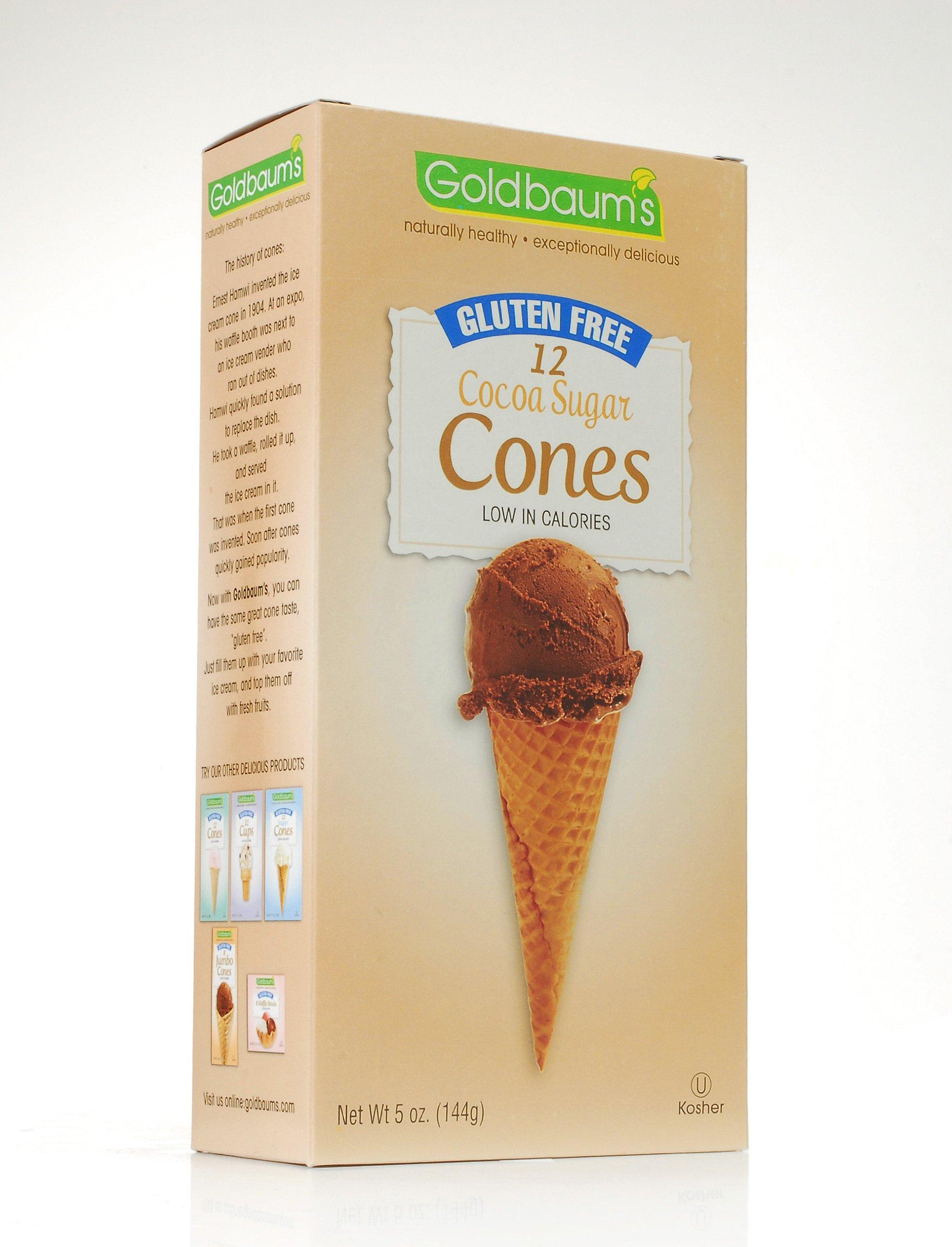 Goldbaum's Gluten Free Ice Cream Cones, Cocoa Sugar, 5 Ounce (Pack of 4)