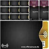 RFID & NFC – Fundas |10 – Juego de 12 x para, EC tarjeta de crédito tarjeta | 2 x para, pasaporte | 100% de blindaje de protección completa mediante RFID & NFC inalámbrico de chips | RFID Secure – El original