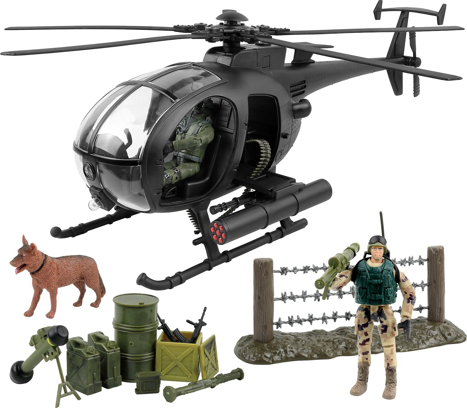 Click N' Play Military Attack Combat Helicopter 20 Piece Play Set With Accessories. by Click N'' Play (Image #1)