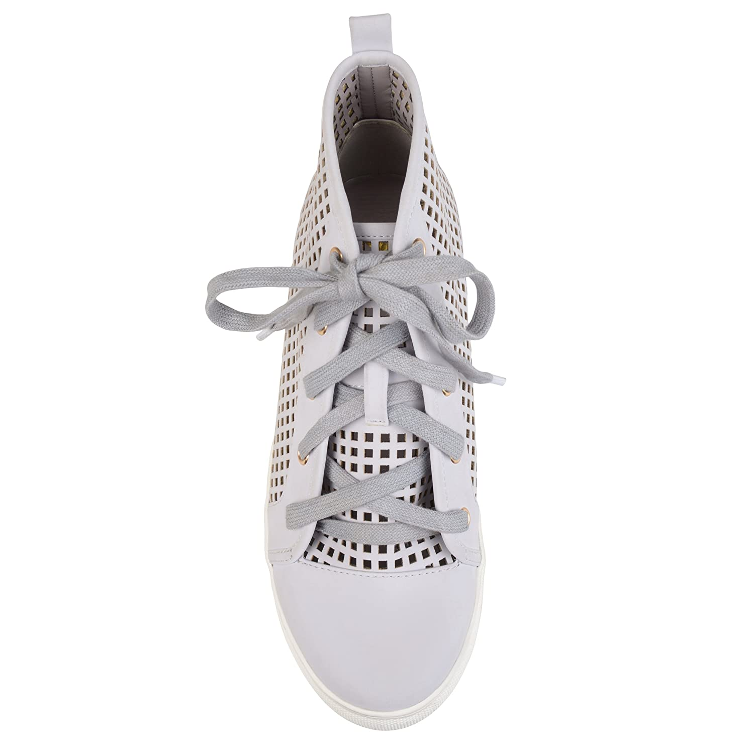 Brinley Co Womens Faux Leather High-Top Lace-up Laser-Cut Sneakers B073RRY2XB 7.5 B(M) US|Grey