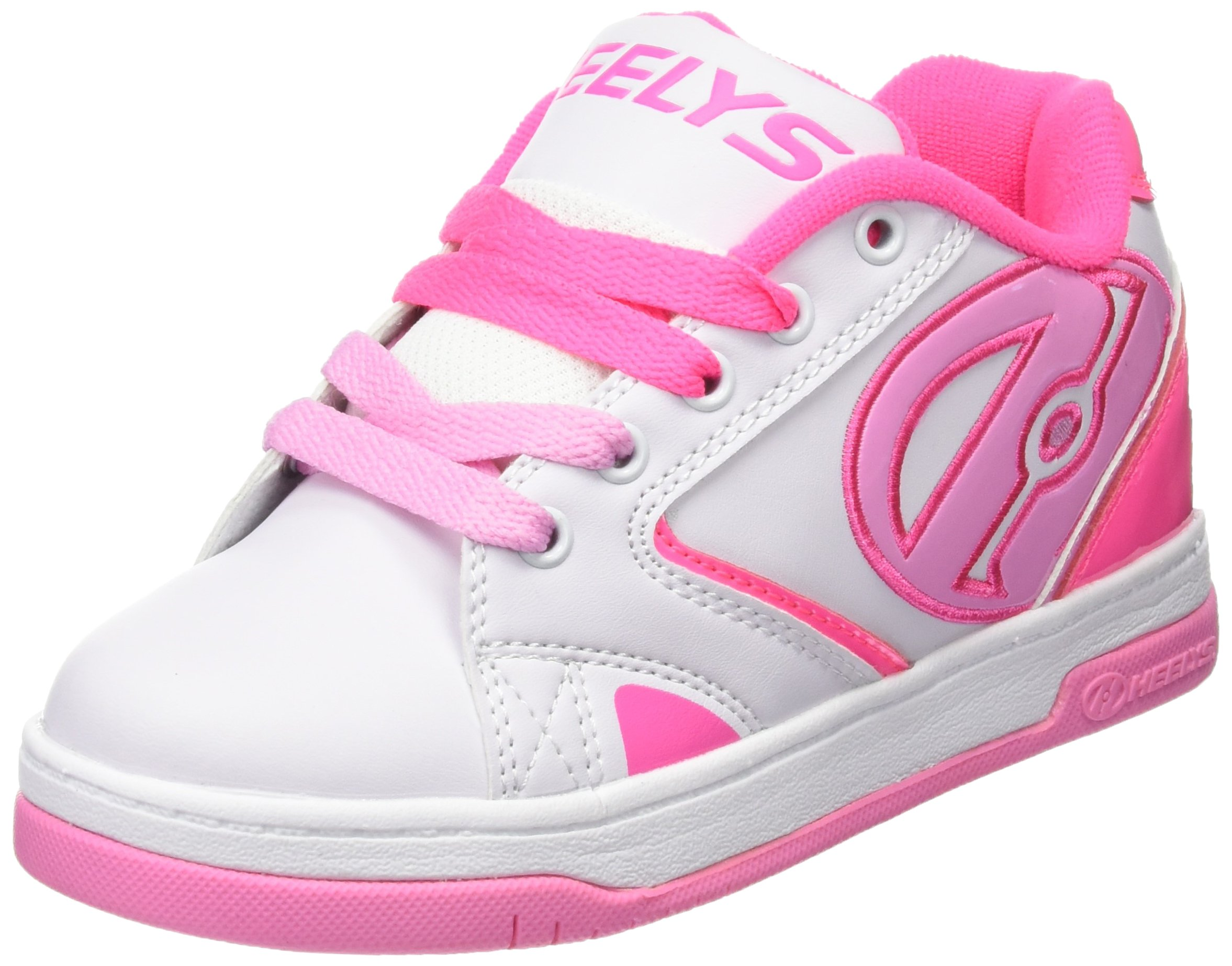 Heelys Propel 2.0 Sneaker (Little Kid/Big Kid), White/Hot Pink/Light Pink, 4 M Big Kid