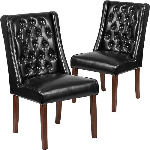 Flash Furniture 2 Pk. HERCULES Preston Series Black LeatherSoft Tufted Parsons Chair