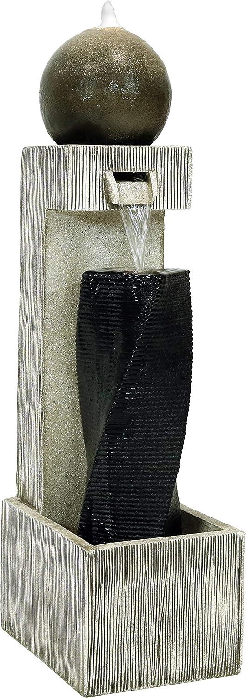 Sunnydaze Modern Vogue Outdoor Water Fountain with LED Lights, Garden Sphere & Column Waterfall Feature, 35-Inch Tall