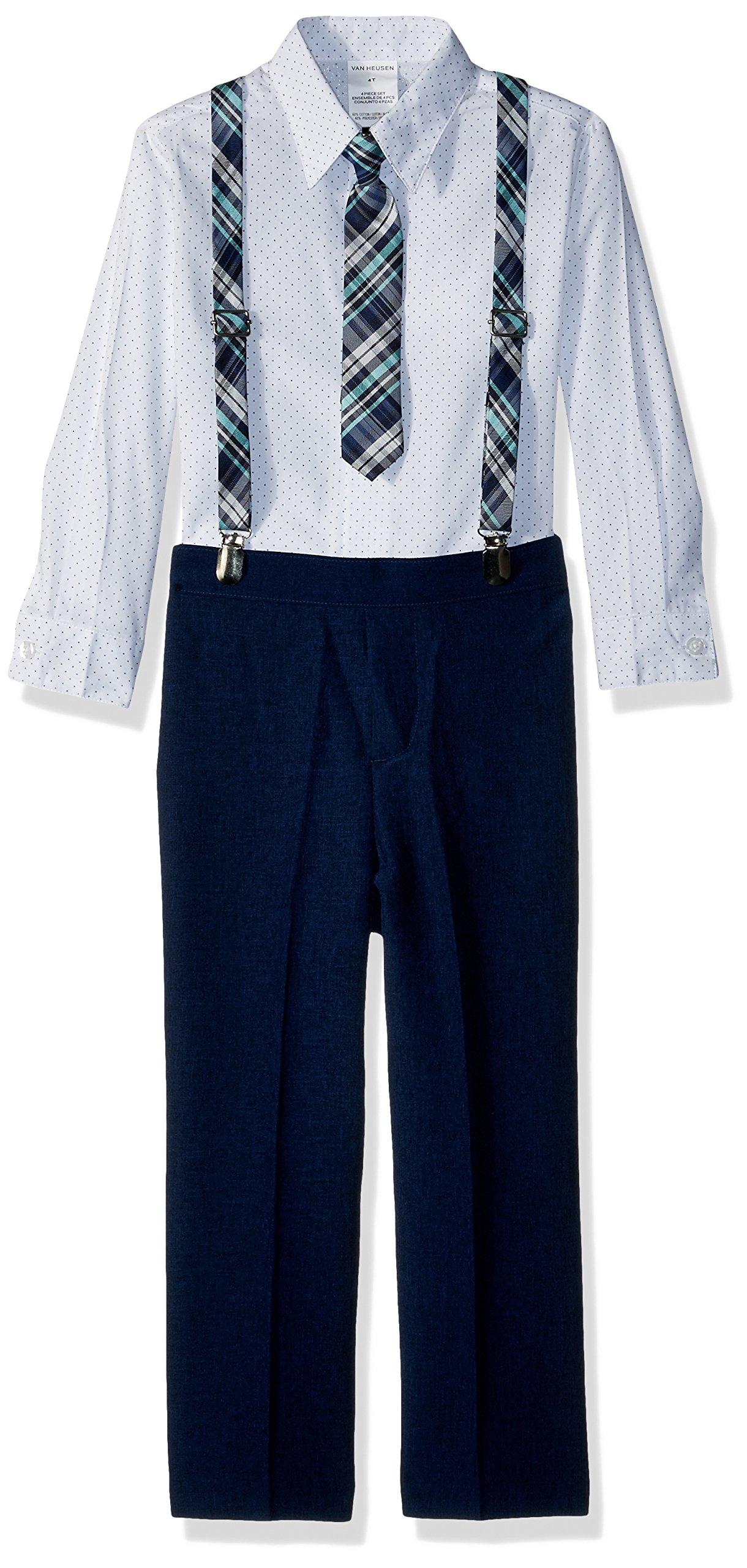 Van Heusen Toddler Boys' Four Piece Suspender Set, Poplin Academy Blue, 4T