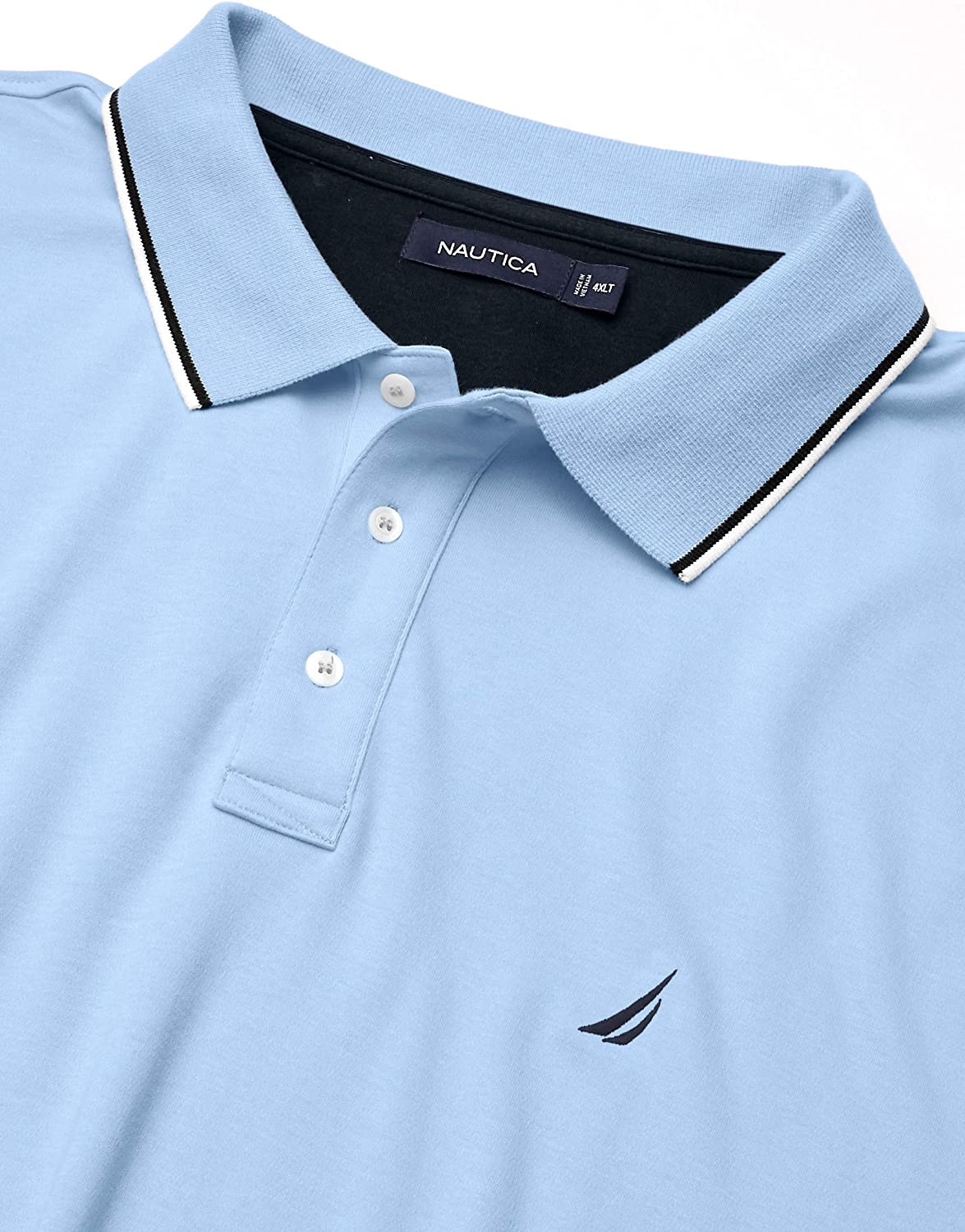 Nautica Mens Classic Fit Short Sleeve Solid Tipped Collar Soft Polo Shirt Polo Shirt