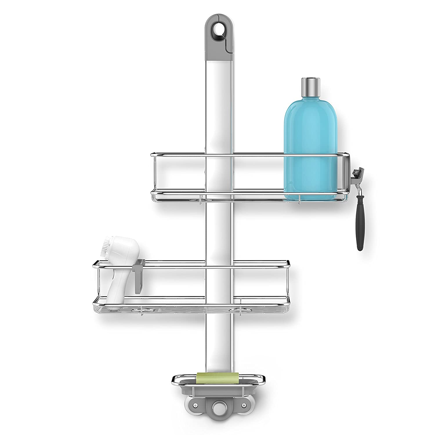 simplehuman Shower Caddy and Anodized Aluminum, Silver Stainless Steel, Adjustable BT1098