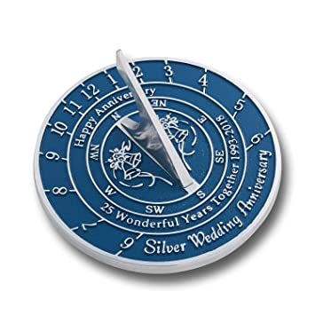 The Metal Foundry 25th Silver Wedding Anniversary Sundial Gift Idea