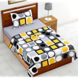 Loreto 144 TC 100% Cotton Single Bedsheet with 1 Pillow Cover, Multi Colour