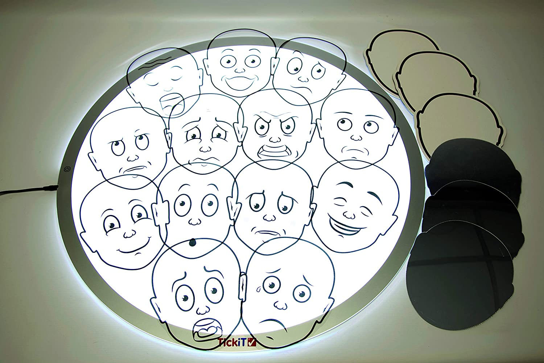 material cajón de luz - caras emociones