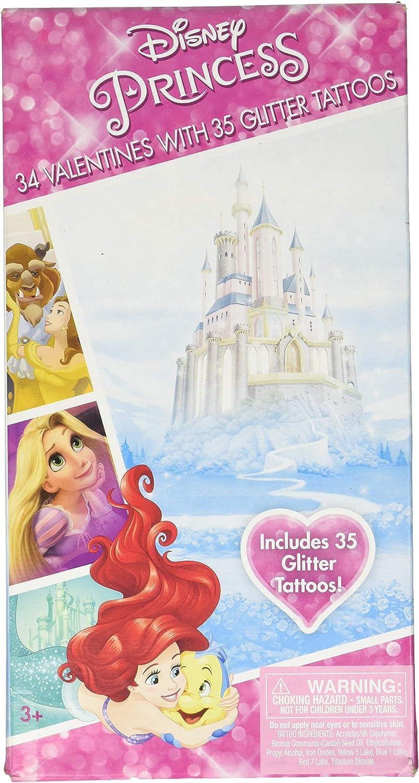 Amazon Com Disney Princesses Valentines 34 Cards With Tattoos