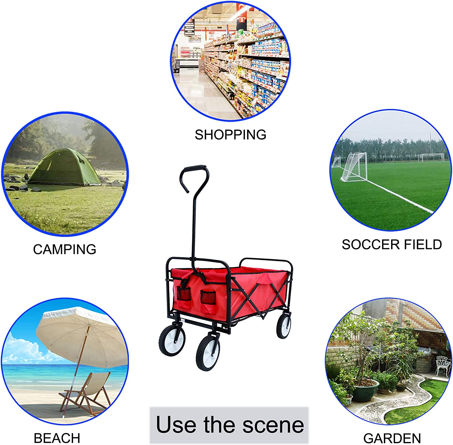Blue Portable Folding Collapsible Wheels Outdoor Utility Wagon Camping Sturdy Steel Frame Compact Beach Cart Mooseng Side Bag