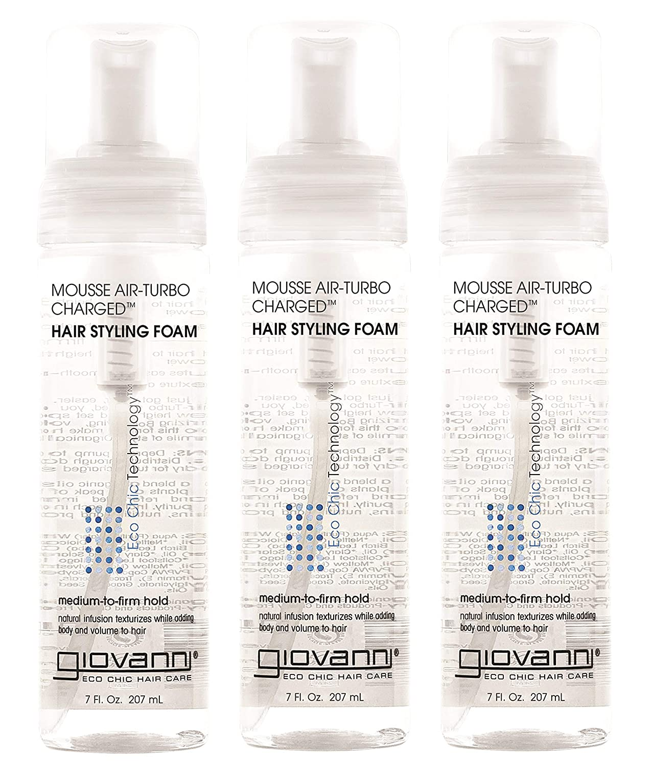 Giovanni Eco Chic Air-Turbo Charged Hair Styling Foam, 7 Fl. Oz (Pack of 3)