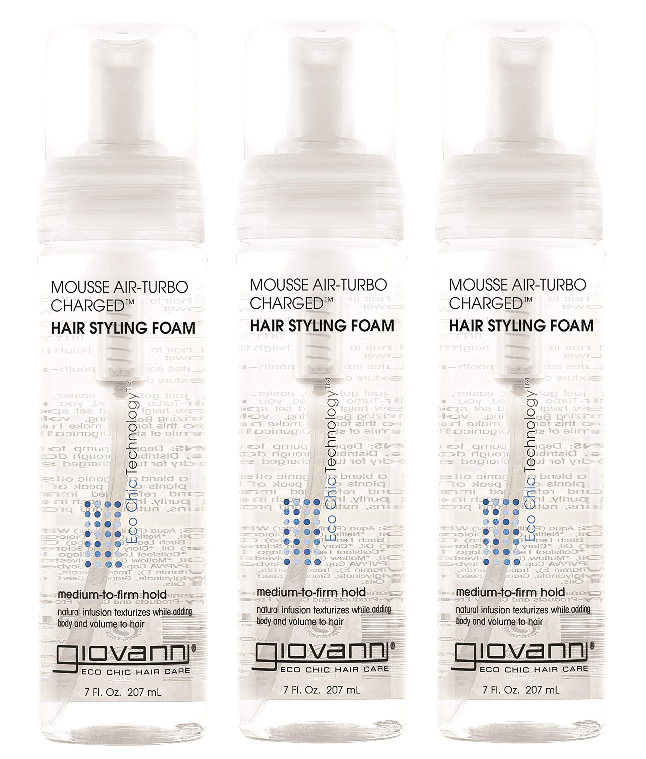 GIOVANNI COSMETICS- Eco Chic Natural Hair Styling Mousse- Air-Turbo Charged Styling Foam (7 Ounces- 3 Pack) by GIOVANNI