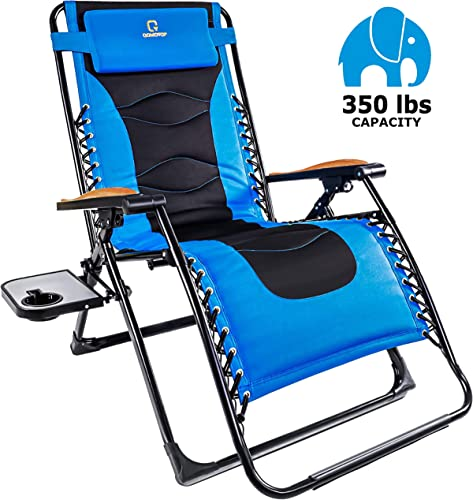 OT QOMOTOP Zero Gravity Chair, Oversize 22.8 Inches Adjustable Padded Seat, Outdoor Lounge Reclining Patio Chair with Contour Pillow and Side Cup Table, Folds Flat for Storage, Support 350lbs Blue