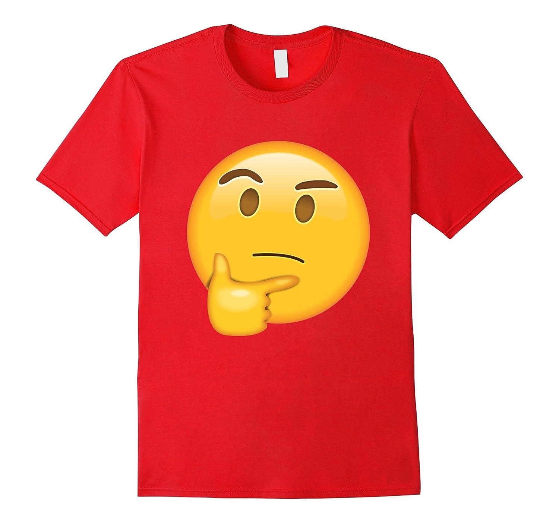 Womens Thinking Emoji T shirt Emoticon-Teeae