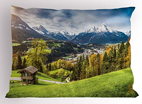 Amazon Com Ambesonne Landscape Pillow Sham Panoramic Scenery Of Snowy Mountains Bavarian Alps National Park Germany Decorative Standard Size Printed Pillowcase 26 X 20 Multicolor Home Kitchen