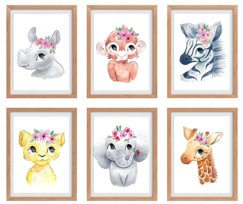 Baby Girl Nursery Decor, Nursery Wall Art, Baby Room Decorations for Girls, Nursery Wall Decor Girl, Safari Nursery Decor, Animal Nursery Decor, Floral Nursery Decor, Jungle Set of 6 Prints 8x10