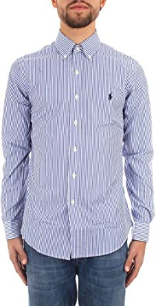 Ralph Lauren Camicia Slim Fit in Cotone 710705269 Blue - White Size:XXL: Amazon.es: Ropa y accesorios