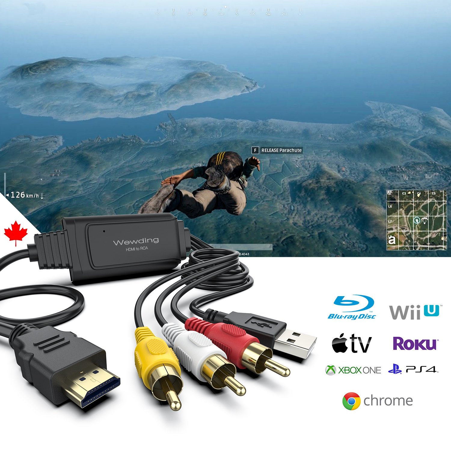 Amazon.com: HDMI to RCA Cable – Hassle Free - Converts Digital HDMI ...