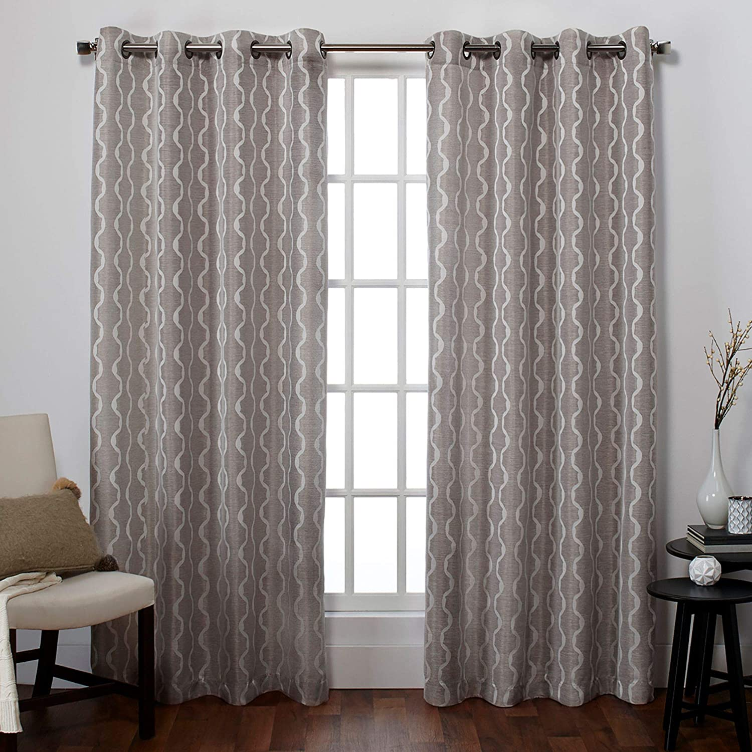 Amazon Com Exclusive Home Baroque Textured Linen Look Jacquard Grommet Top Curtain Panel Pair Pewter 54x84 Home Kitchen