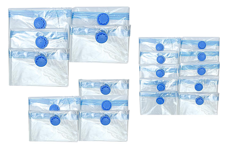 Housse de rangement sous vide 70 x 120, 60 x 80 et 40 x 60 cm pour les vêtements, la garde-robe et les textiles lot de 20