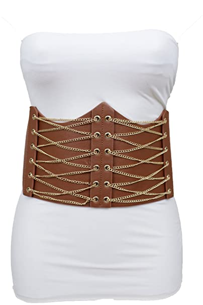 0159be88034 TFJ Women Fashion Wide Corset Belt Gold Metal Chains Elastic Brown Stretch  S M