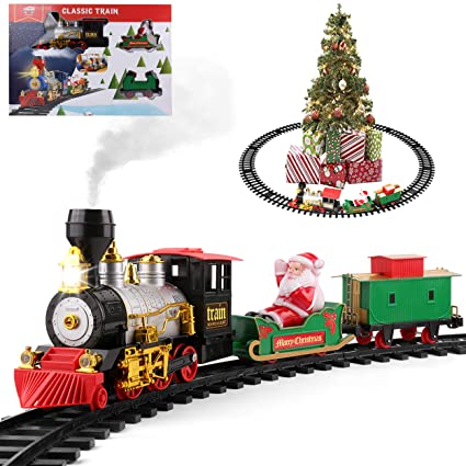 Ho Christmas Train.Roxie Christmas Tree Train Track Set With Santa Sleigh Trolley Smoke Lights Sounds