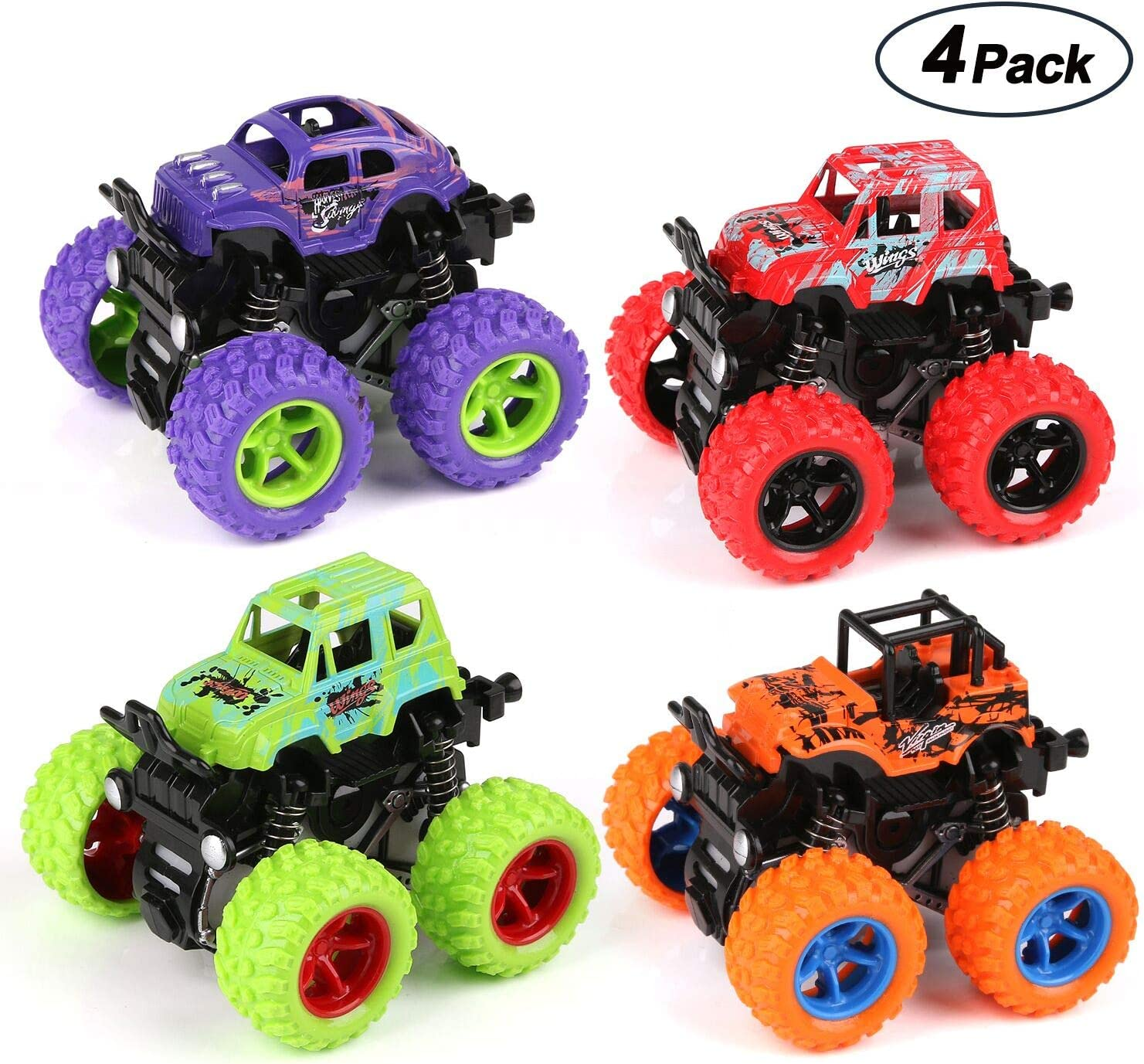 Amazon Com Bblike 4 Pack Monster Truck Cars Push And Go Toys With Durable Rubber Tires Friction Powered Cars 4 Wheel Drive Vehicles For Toddlers Kids Boys Girls Age 3 Toys Games