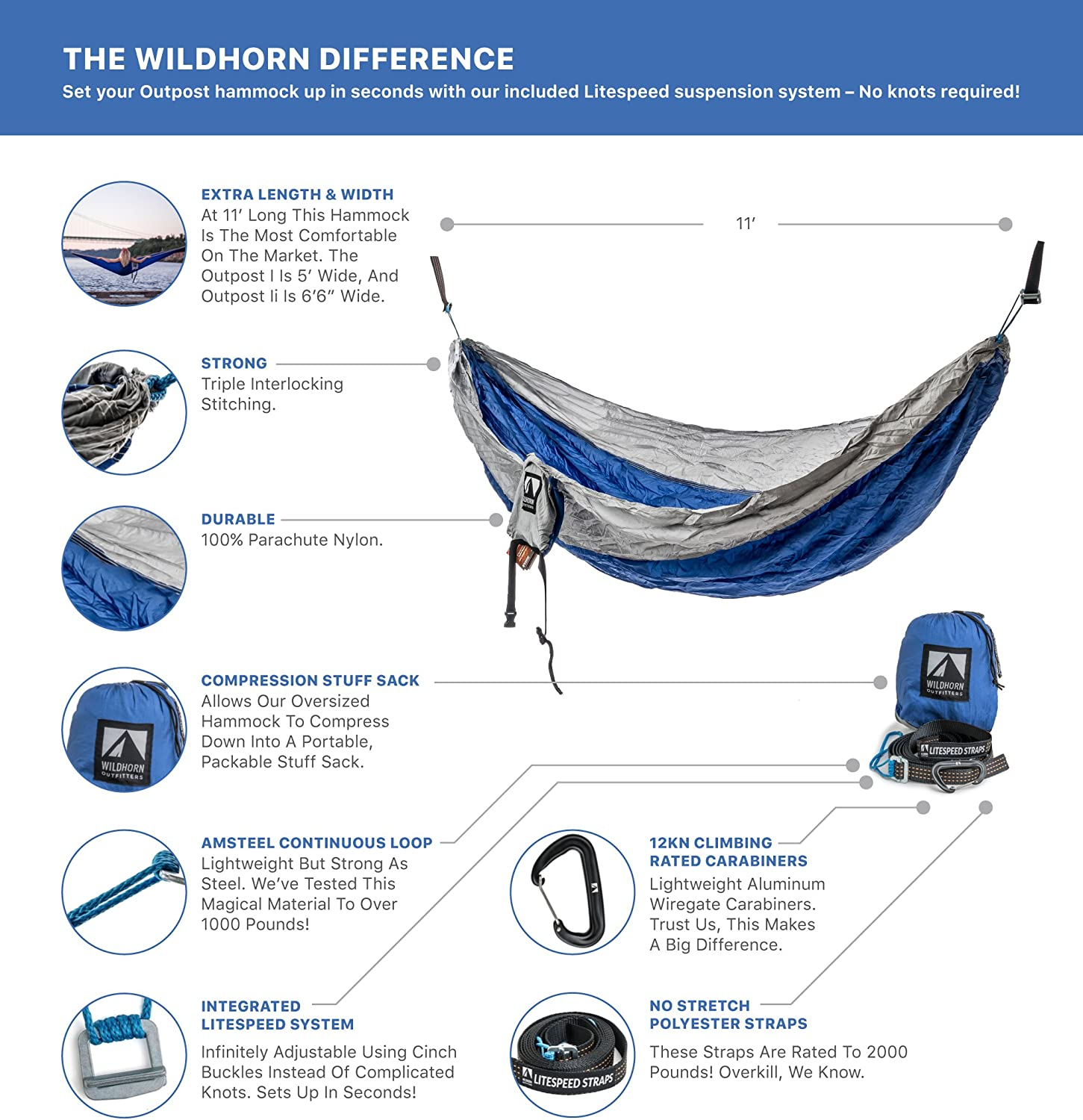 Easiest Hammock to Hang Outpost Double//Single Camping Hammock with 11/' Tree Straps 100/% Parachute Nylon No Knots Required Cinch Buckle Design