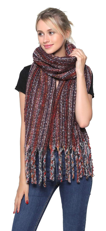 304-4 Belle Dame Womens Fashion Long Shawl Large Color Block Plaid Blanket Scarf Wrap