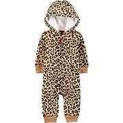 Carter's Baby Girls' One Piece Fleece Jumpsuit Cheetah,3 Months