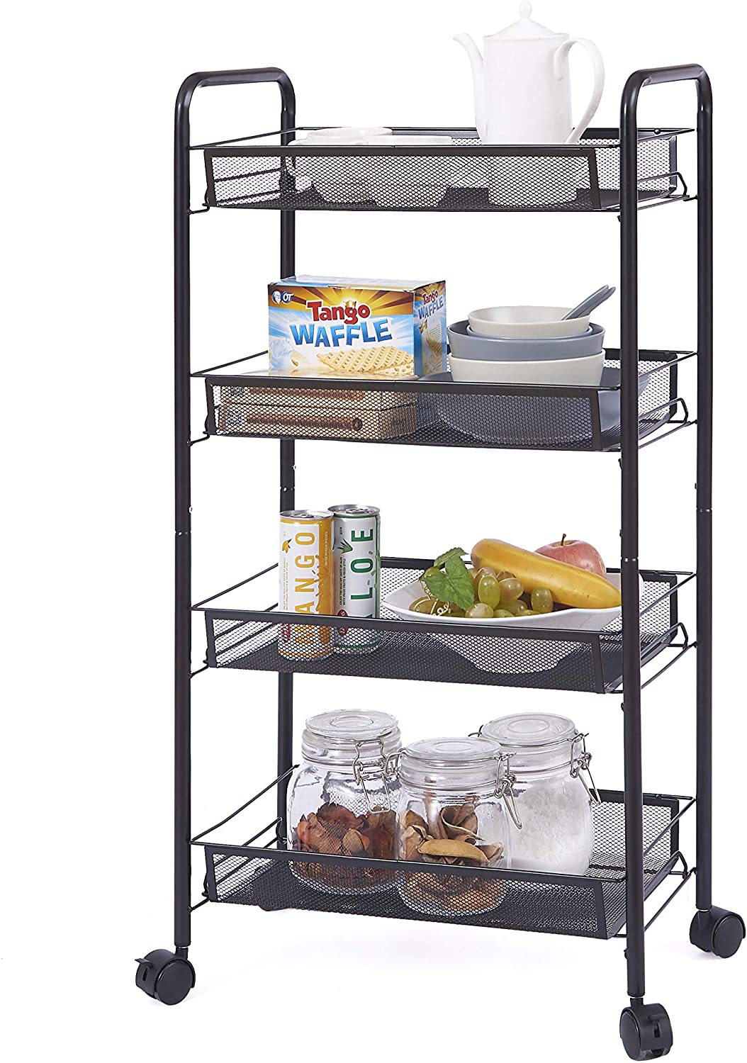 Ovicar Mesh Utility Cart, Rolling Basket Stand for Kitchen & Bathroom, Full Metal Storage Art Trolley Carts with Wheels & 4 Side Hooks (4 Tier, Black)