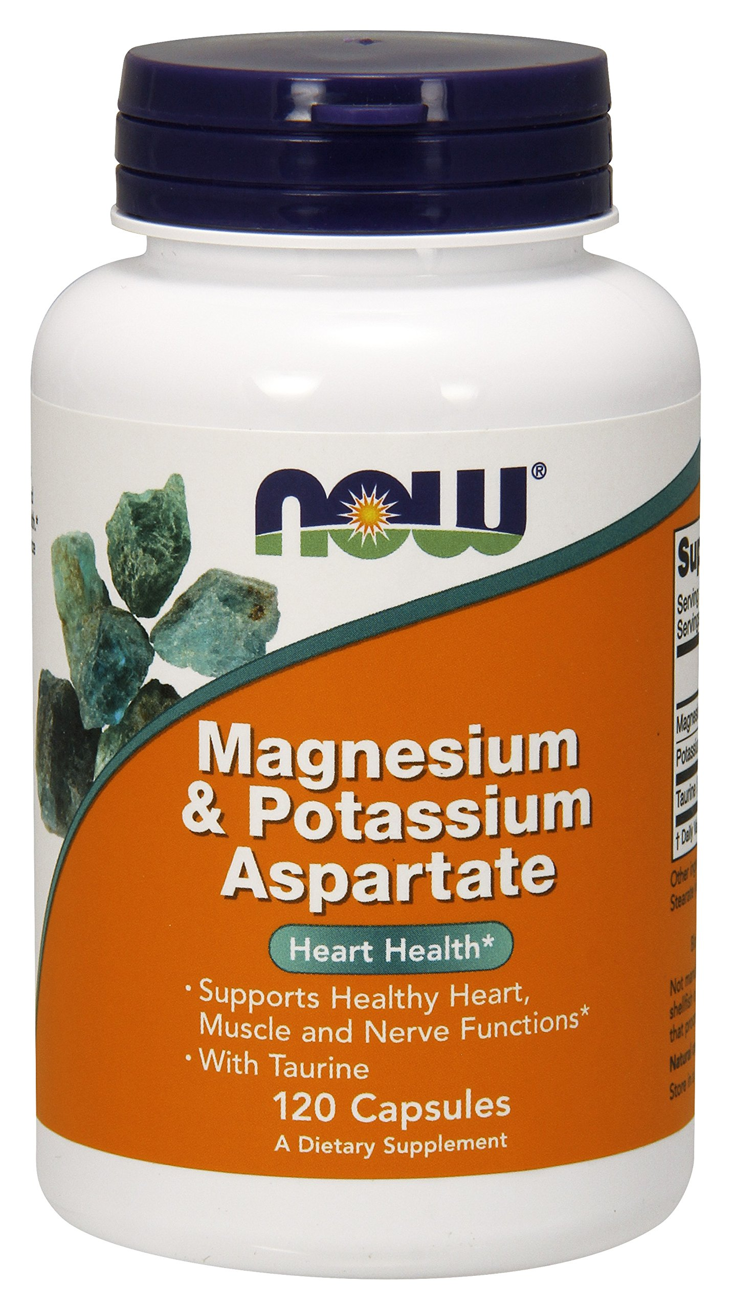 NOW Magnesium & Potassium Aspartate with Taurine,120 Capsules