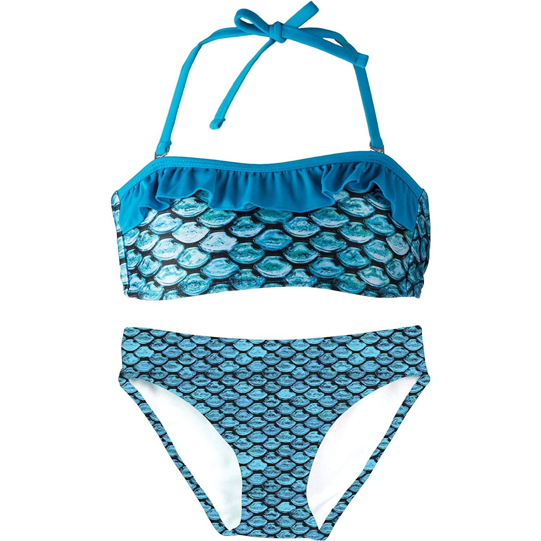 Fin Fun Mermaid Girl's Scale Bandeau Bikini Swimsuit Set - Mermaidens Swimwear