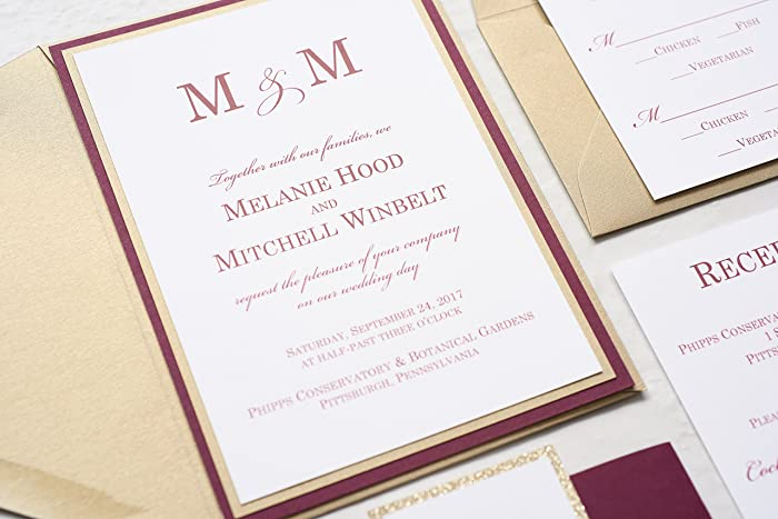 Marsala And Gold Wedding Invitation, Burgundy And Champagne Wedding  Invitation Set, Modern Wedding Invite