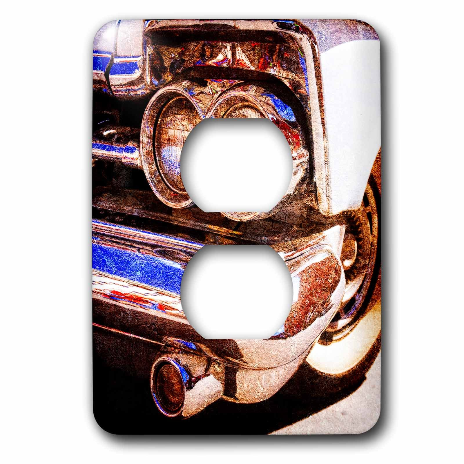 3dRose Alexis Photography - Transport Road - Headlights, bumper, front wheel of a vintage luxury car. Texture photo - Light Switch Covers - 2 plug outlet cover (lsp_271955_6)