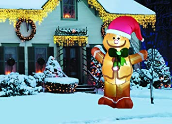 new 8 feet inflatable santa claus snowman indoor outdoor christmas holiday decorations gingerbread man - Gingerbread Outdoor Christmas Decorations