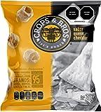 Crops & Bros Botana Horneada Hecha de Arroz, Quinoa, Lenteja y Mijo, Sabor Queso Cheddar, Queso Cheddar, 25 gramos