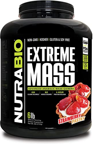 NutraBio Extreme Mass 6 lbs Strawberry Pastry High Calorie Mass Gainer Supplement