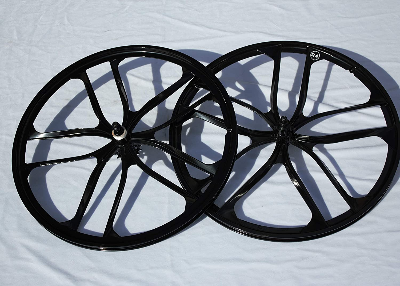 R4 26インチ BMX 自転車 10スポーク マグ合金ホイールセット フリーホイール付き (グロスブラック)   B07PPXFF7W