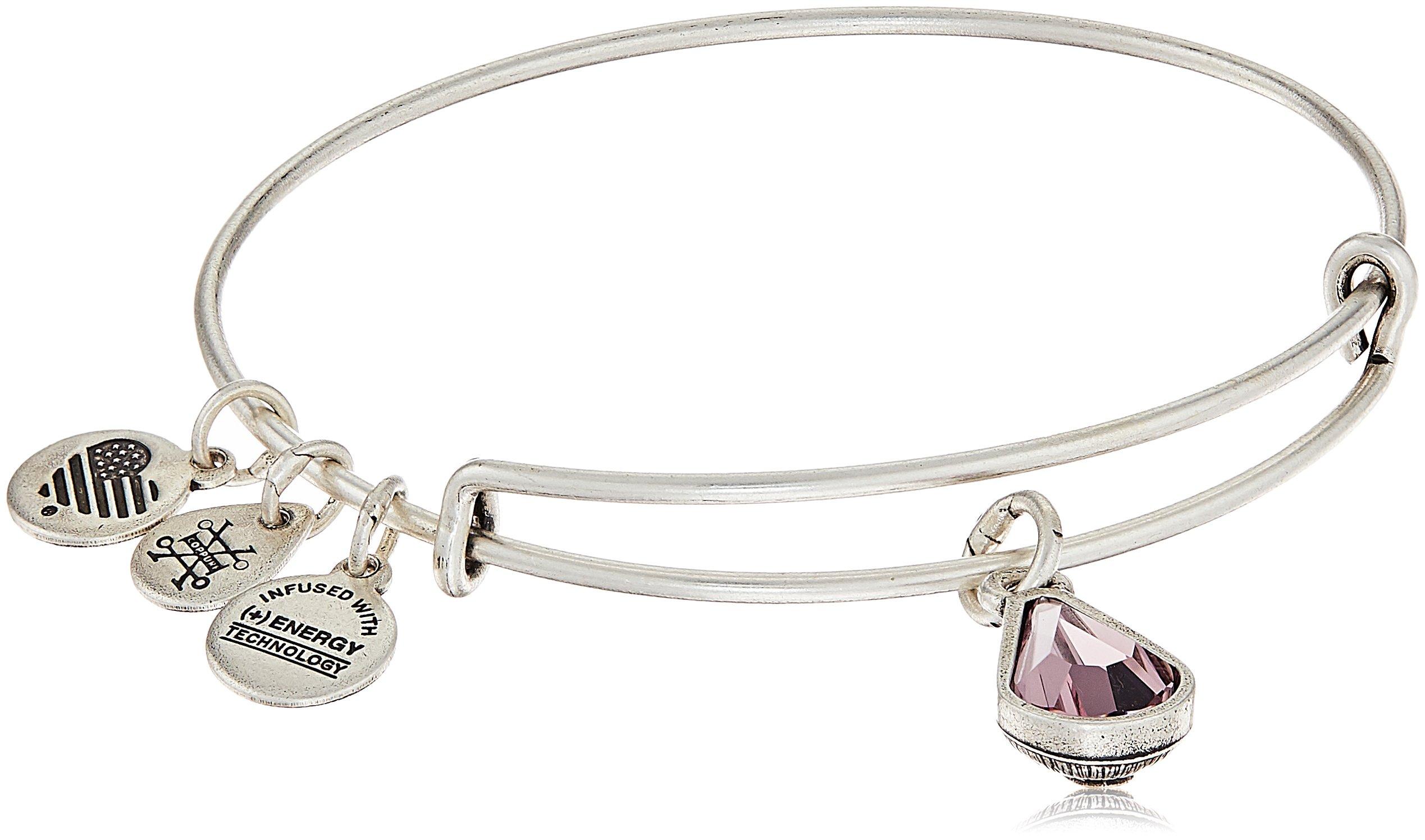 Alex and Ani June Birth Month Charm with Swarovski Crystal Rafaelian Silver Bangle Bracelet
